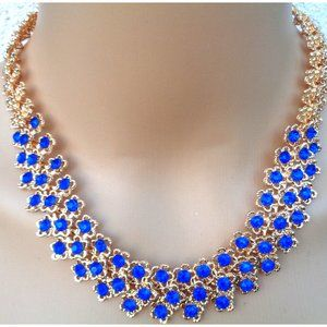 GOLD FINISHED SAPPIER BLUE LADY'S NECKLACE EARRIN